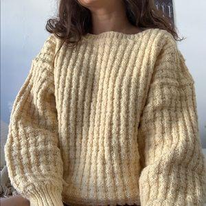 Handmade yellow waffle knit sweater